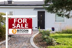 Bitcoin are accepted as payment stock photos