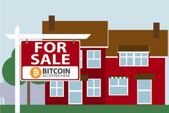 Property for sale. Bitcoins are accepted as payment. vector illustration