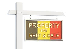 Property for sale and rent in Belgium concept. Real Estate Sign,. 3D rendering on white background Royalty Free Stock Images
