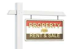 Property for sale and rent in Egypt concept. Real Estate Sign, 3. D rendering on white background Stock Photo