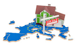 Property for sale and rent in EU concept, 3D rendering. Property for sale and rent in EU concept, 3D Stock Photo