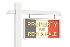 Property for sale and rent in France concept. Real Estate Sign,. 3D rendering on white background Stock Image