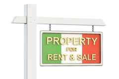 Property for sale and rent in Italy concept. Real Estate Sign, 3. D rendering on white background Royalty Free Stock Photography