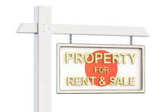Property for sale and rent in Japan concept. Real Estate Sign, 3. D rendering on white background Stock Photos