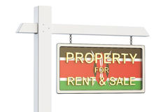 Property for sale and rent in Kenya concept. Real Estate Sign, 3. D rendering on white background Stock Photos