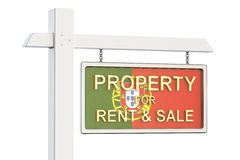 Property for sale and rent in Portugal concept. Real Estate Sign. 3D rendering on white background Stock Photo