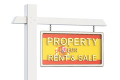Property for sale and rent in Spain concept. Real Estate Sign, 3. D rendering on white background Royalty Free Stock Photography