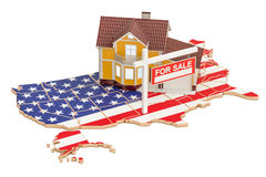 Property for sale and rent in USA concept, 3D rendering Royalty Free Stock Images
