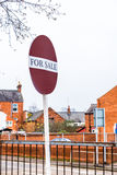 Property For Sale Text banner and sign over houses background in UK Stock Images