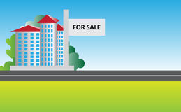 Property For Sale. Vector illustration of a building and land with for sale board Royalty Free Stock Photo