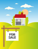 Property Sale. Vector illustration of a property sale with house, meadow with FOR SALE sign Stock Photo
