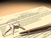 Property sales contract stock photo