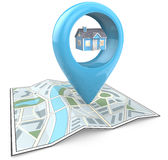 Property Search. 3D render of a Map with Large Blue GPS Pointer containing a Blue House Royalty Free Stock Photo