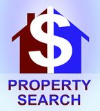 Property Search Represents Find Property 3d Illustration. Property Search Dollar Icon Represents Find Property 3d Illustration Stock Image