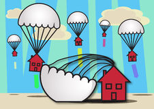 Property Soft Landing. Houses with parachutes attached floating to earth, symbolizing a soft landing in the housing market Stock Images