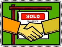 Property Sold!. Illustration of a handshake between a property seller and buyer infront of a Sold sign after successful negotiations vector illustration
