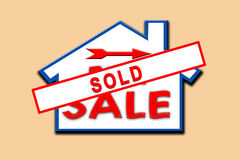 Property sold sign. Property sold vector illustration