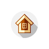 Property symbol, vector house constructed with bricks. Real esta Stock Photos