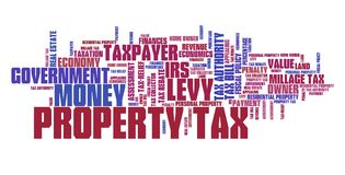 Property tax. Finance issues and concepts tag cloud illustration. Word cloud collage concept Royalty Free Stock Image