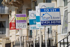 Property to let signage. A group of Property To Let signs at Warrior Square in St.Leonards-on-Sea in East Sussex, England on June 15, 2009 Stock Image