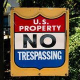Property of the United States Government Official Warning Sign stock images