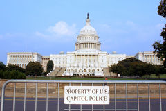 "Property of US Capitol Police. Sign ""Property of US Capitol Police"" with capitol in the background Royalty Free Stock Image"
