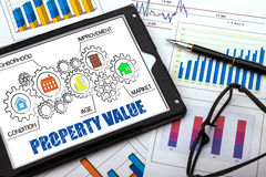 Property value concept. On tablet pc Royalty Free Stock Photo