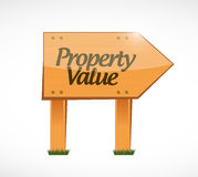 Property value wood sign illustration. Design over a white background Stock Photos