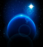 Prophecy Star and planet. Vector Prophecy shiny Star and planet Stock Image