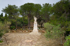 Prophet Elijah Statue in Muhraqa Monastery on Mount Carmel, Israel Stock Photography