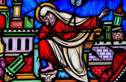 The prophet Jeremiah. Stained Glass window of the prophet Jeremiah lamenting the destruction of Jerusalem in the Cathedral of Brussels, Belgium Stock Photos