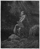 Prophet John on Patmos. Picture from The Holy Scriptures, Old and New Testaments books collection published in 1885, Stuttgart-Germany. Drawings by Gustave Royalty Free Stock Photo