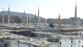 Prophet-Moschee in der Medina-Zeitspanne am Morgen stock footage