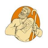 Prophet Moses Ten Commandments Drawing Color lizenzfreie stockfotografie