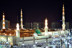 Prophet's Mosque green dome at night Stock Photos