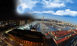 Prophet's Mosque in Medina at night & day Stock Images
