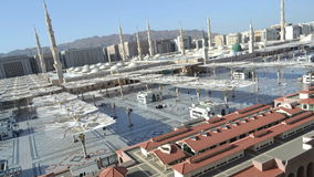 Prophet's Mosque in Medina time lapse at afternoon stock video
