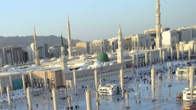 Prophet's Mosque in Medina time lapse from afternoon to twilight Royalty Free Stock Photography