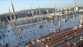 Prophet's Mosque in Medina time lapse from sunset to twilight stock video footage