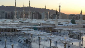 Prophet's Mosque time lapse from dawn to and morning with moving camera Royalty Free Stock Photo
