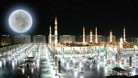 Prophet's Mosque west side at night Stock Image
