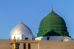 Prophet`s tomb is under the green dome. Royalty Free Stock Photography