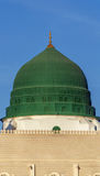 Prophet`s tomb is under the green dome. An external image of the Prophet`s Mosque in Medina in Saudi Arabia, It shows the minarets and green dome and sliver Stock Images