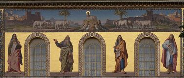 Prophets Isaiah, Jeremiah, Ezekiel and Daniel. Mosaic of prophets Isaiah, Jeremiah, Ezekiel and Daniel, Basilica of Saint Paul outside the walls, Rome, Italy Royalty Free Stock Images