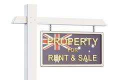 Propiedad para la venta y alquiler en el concepto de Australia Sig de Real Estate Foto de archivo libre de regalías