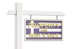 Propiedad para la venta y alquiler en el concepto de Grecia Real Estate firma, Imagen de archivo