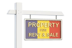 Propiedad para la venta y alquiler en el concepto de Rumania Real Estate firma, Imagen de archivo libre de regalías