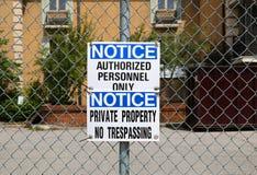 Propiedad privada ninguna muestra de violación Imagenes de archivo