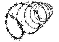 Propiedades de la protección de la cerca del alambre de púas Fotografía de archivo libre de regalías