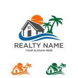 Propiedades inmobiliarias de la casa de playa, logotipo de la construcción Imagen de archivo libre de regalías